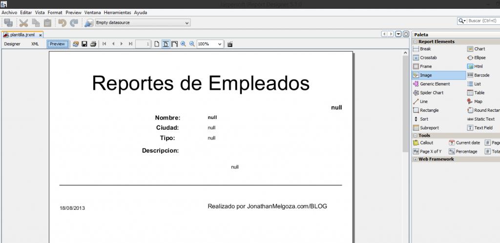 como crear reportes en java 11