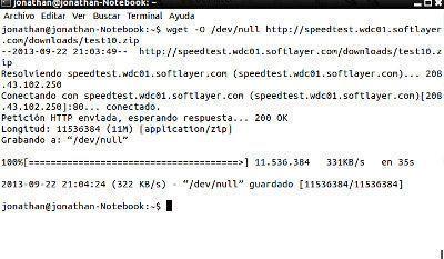 probar la velocidad de internet desde la terminal de linux 1