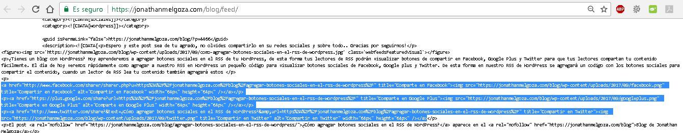 agregar botones sociales en el rss de wordpress feed