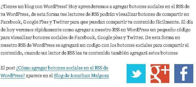 agregar botones sociales en el rss de wordpress resultado