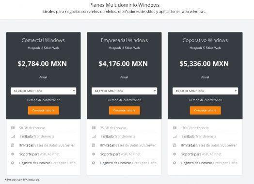 multidominio hosting windows en mexico
