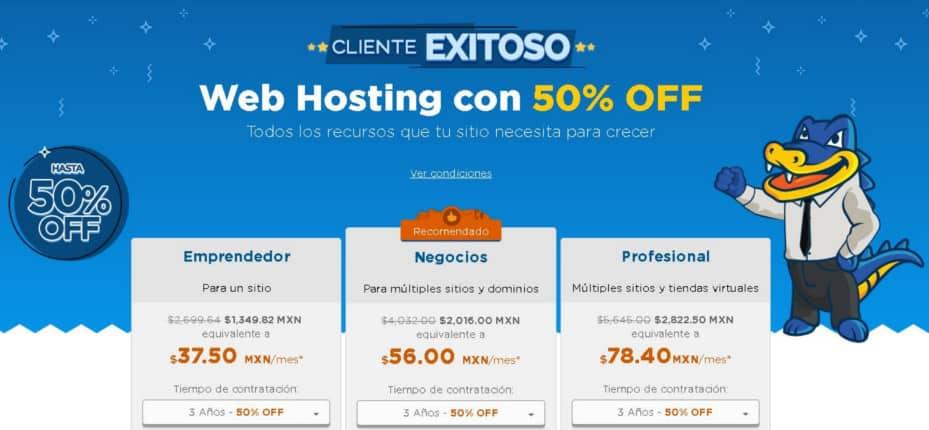 50 descuento en hospedaje web con Hostgator